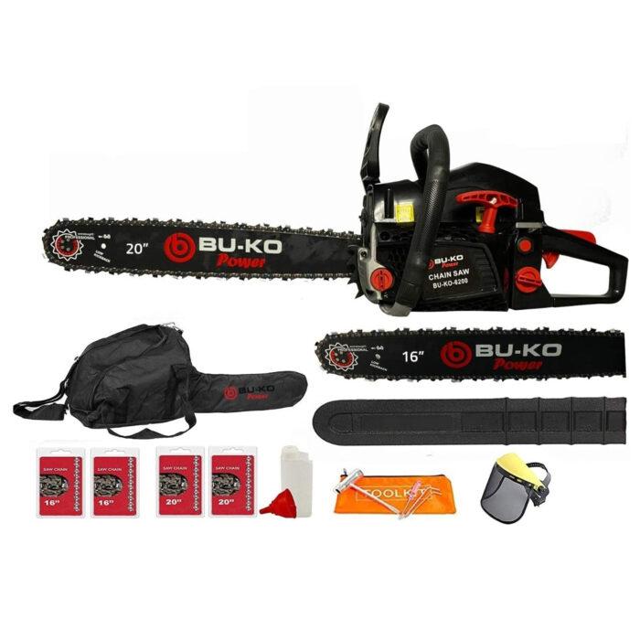 BU-KO 62cc Petrol Chainsaw 3.4HP 20″ Bar & 2 x Chains + 16″ Bar & 2x Chains COVER BAG & FULL SAFETY GEAR