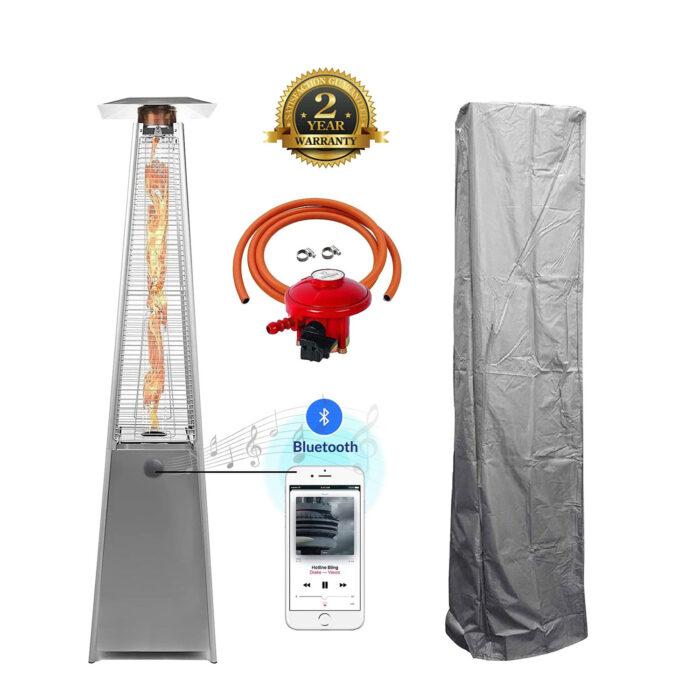 BU-KO Patio Gas Heater Stainless Steel with Bluetooth
